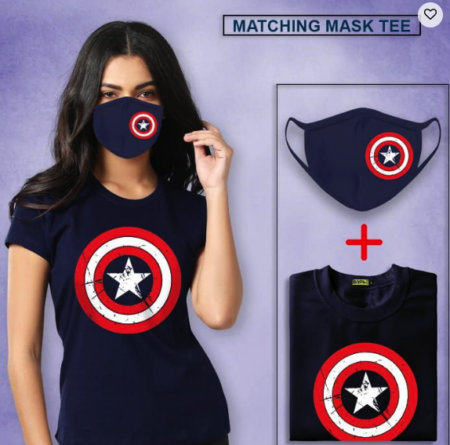 CAPTAIN AMERICA WOMEN TEE AND MASK MATCHING COMBO
